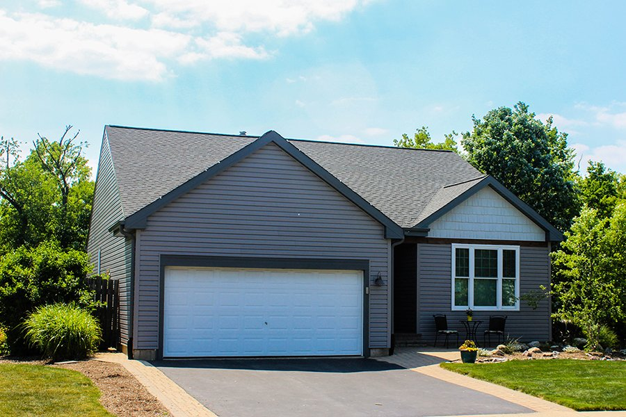 Red Oak Drive, Round Lake, Illinois, Mastic Cedar Shake Siding in white and Mastic Lap Siding in Silver Gray